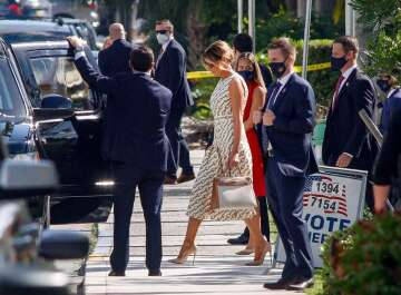 Melania Trump slammed for voting outfit: R72k Gucci dress, but no mask?