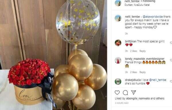 Love is sweet: AKA sends newly engaged girlfriend, Nelli Tember beautiful romantic flowers