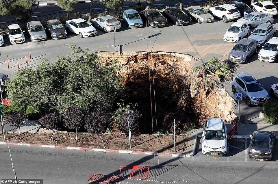 Moment a huge Sinkhole swallows cars in Jerusalem parking lot (Video)