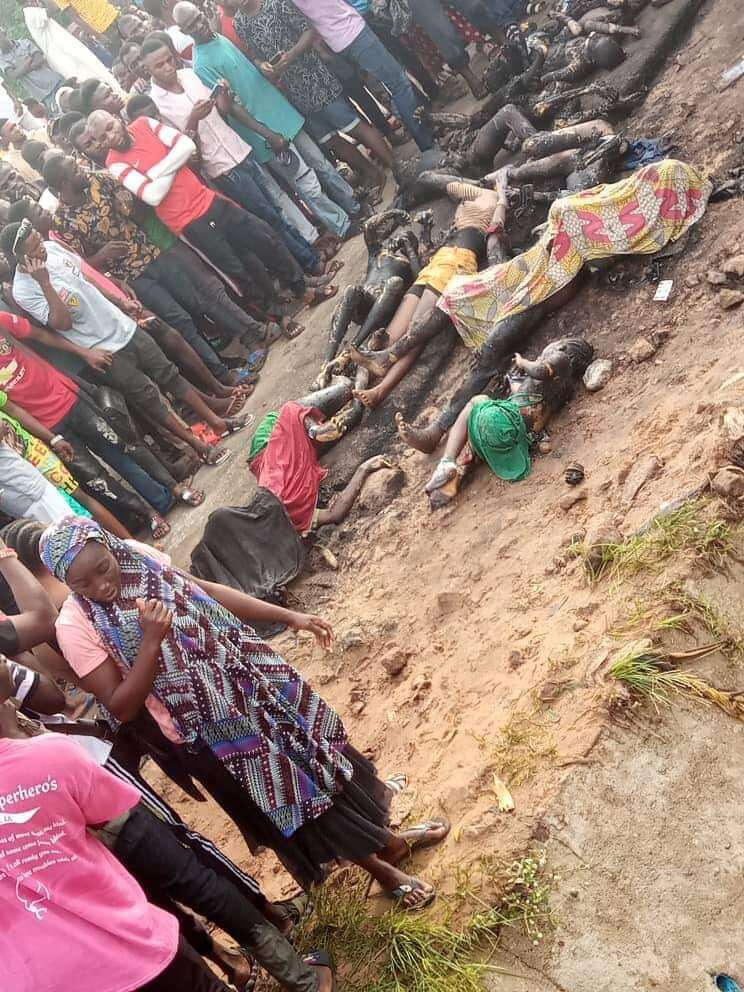 Fuel Tanker collides with School Bus, over 30 people feared dead (Graphic photos)
